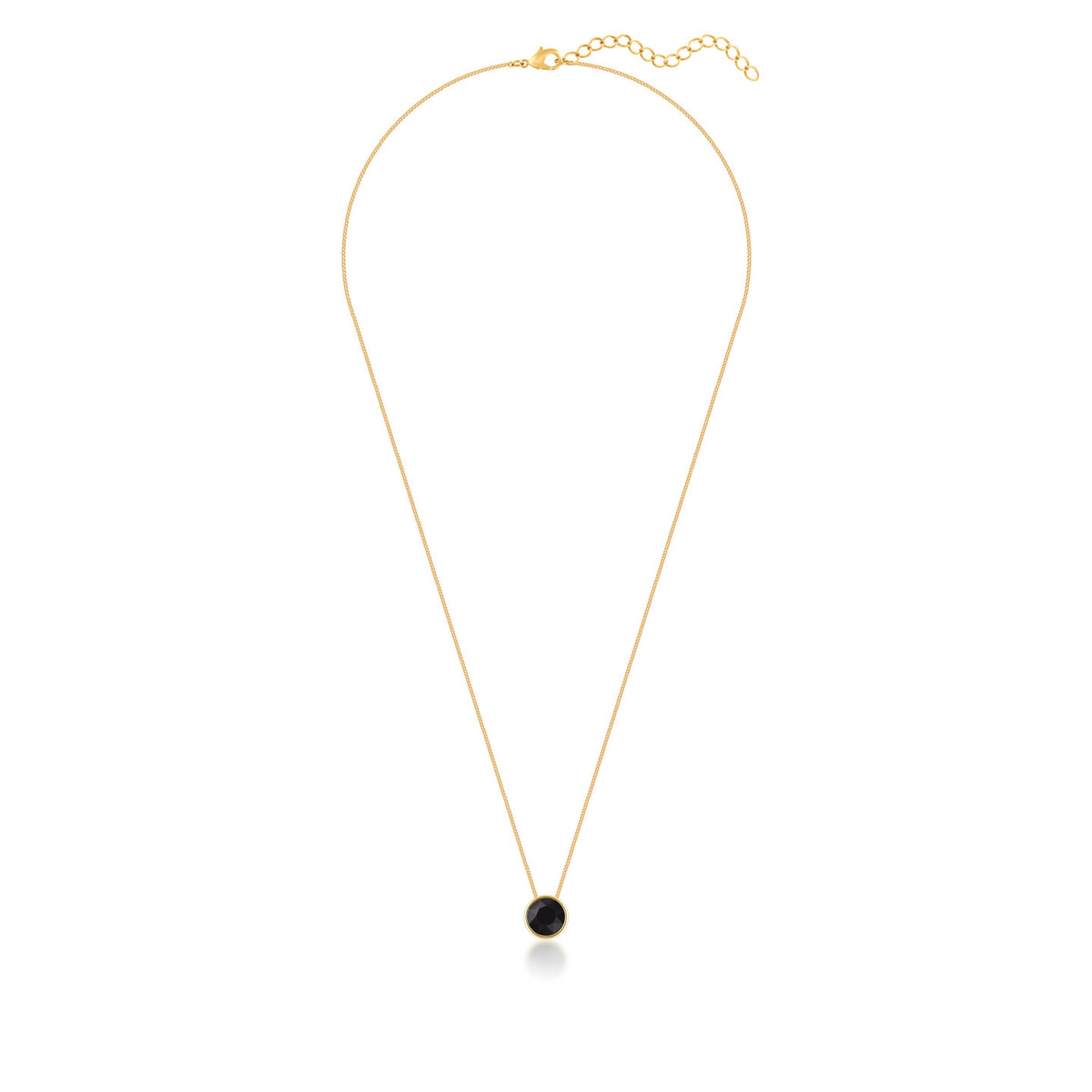 Harley Small Pendant Necklace with Black Jet Round Crystals from Swarovski Gold Plated - Ed Heart