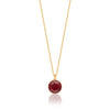 Bella Pendant Necklace with Red Siam Round Crystals from Swarovski Gold Plated - Ed Heart