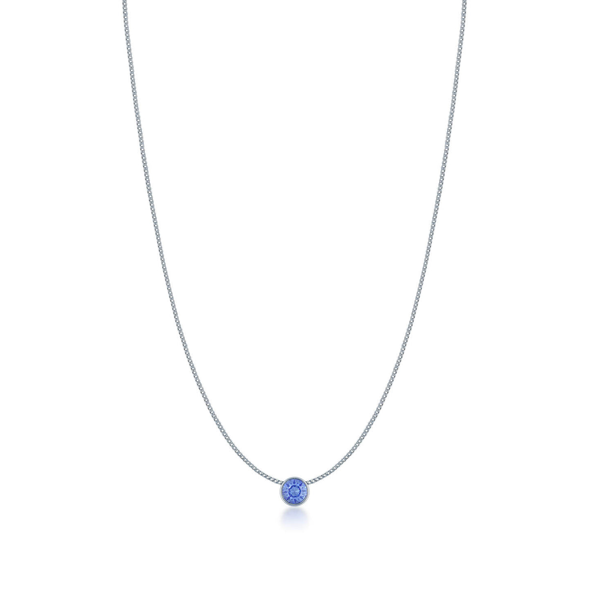 Harley Small Pendant Necklace with Blue Light Sapphire Round Crystals from Swarovski Silver Toned Rhodium Plated - Ed Heart