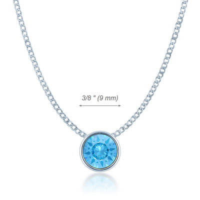 Harley Small Pendant Necklace with Blue Aquamarine Round Crystals from Swarovski Silver Toned Rhodium Plated - Ed Heart
