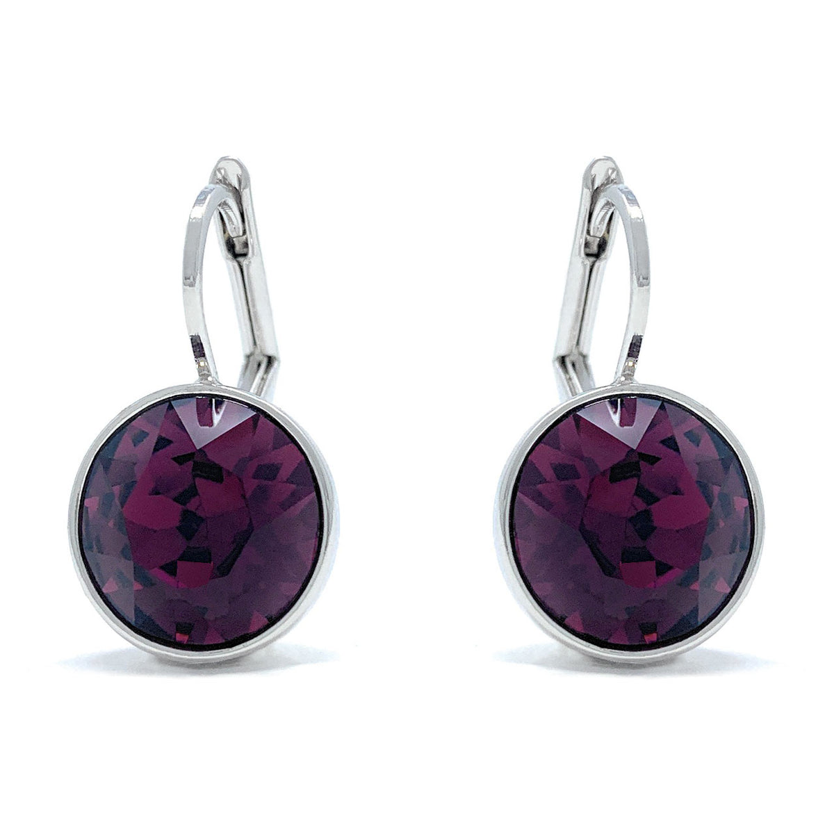 Drop Earrings with Purple Amethyst Crystals Rhodium Plated