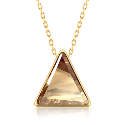 Helena Pendant Necklace with Yellow Beige Golden Shadow Triangle Crystals from Swarovski Gold Plated - Ed Heart