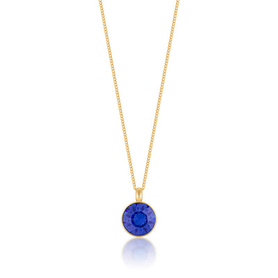 Bella Pendant Necklace with Blue Sapphire Round Crystals from Swarovski Gold Plated - Ed Heart