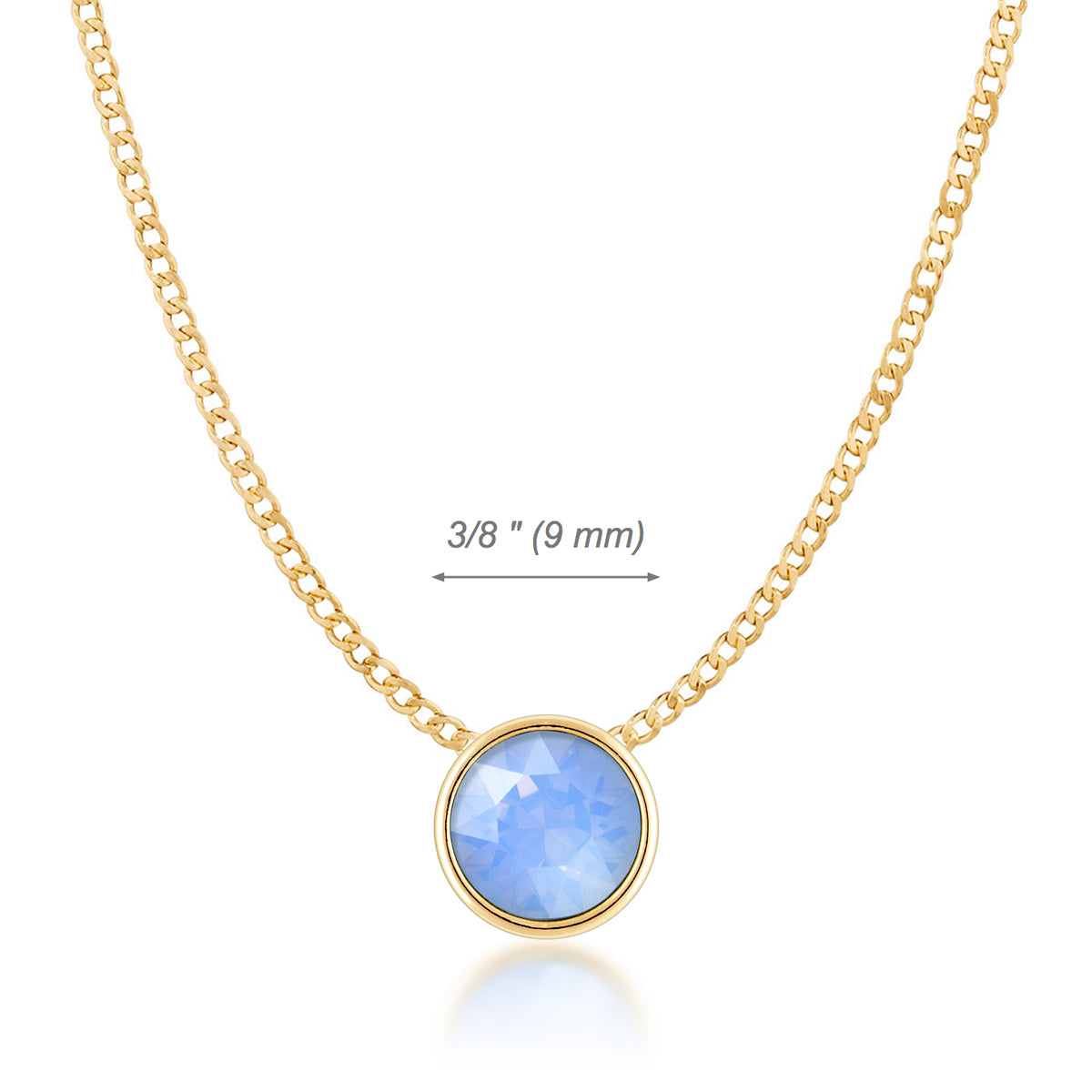 Harley Small Pendant Necklace with Air Blue Round Opals from Swarovski Gold Plated - Ed Heart