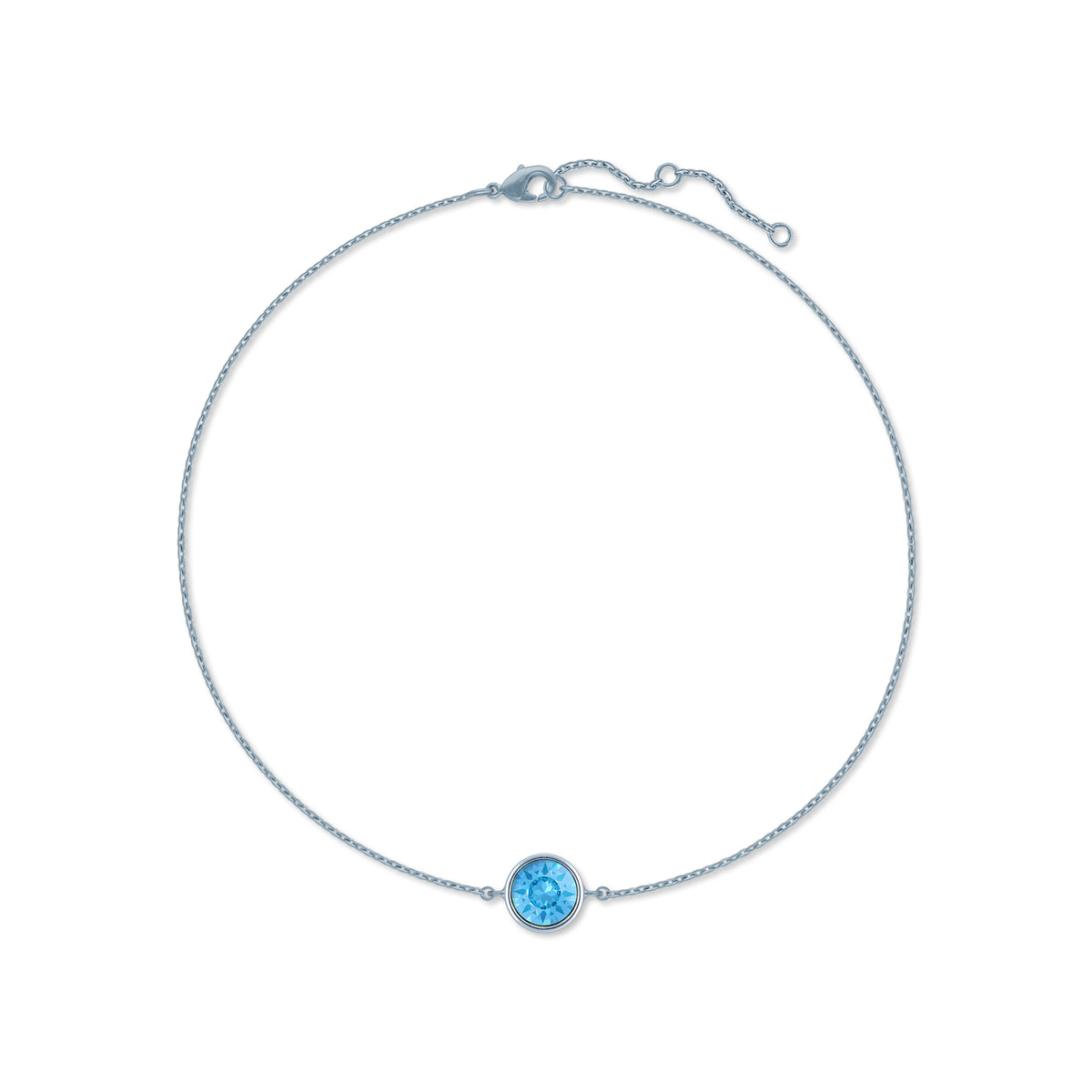 Harley Chain Bracelet with Blue Aquamarine Round Crystals from Swarovski Silver Toned Rhodium Plated - Ed Heart