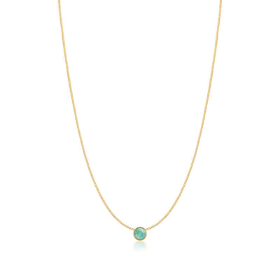 Harley Small Pendant Necklace with Green Blue Pacific Round Opals from Swarovski Gold Plated - Ed Heart