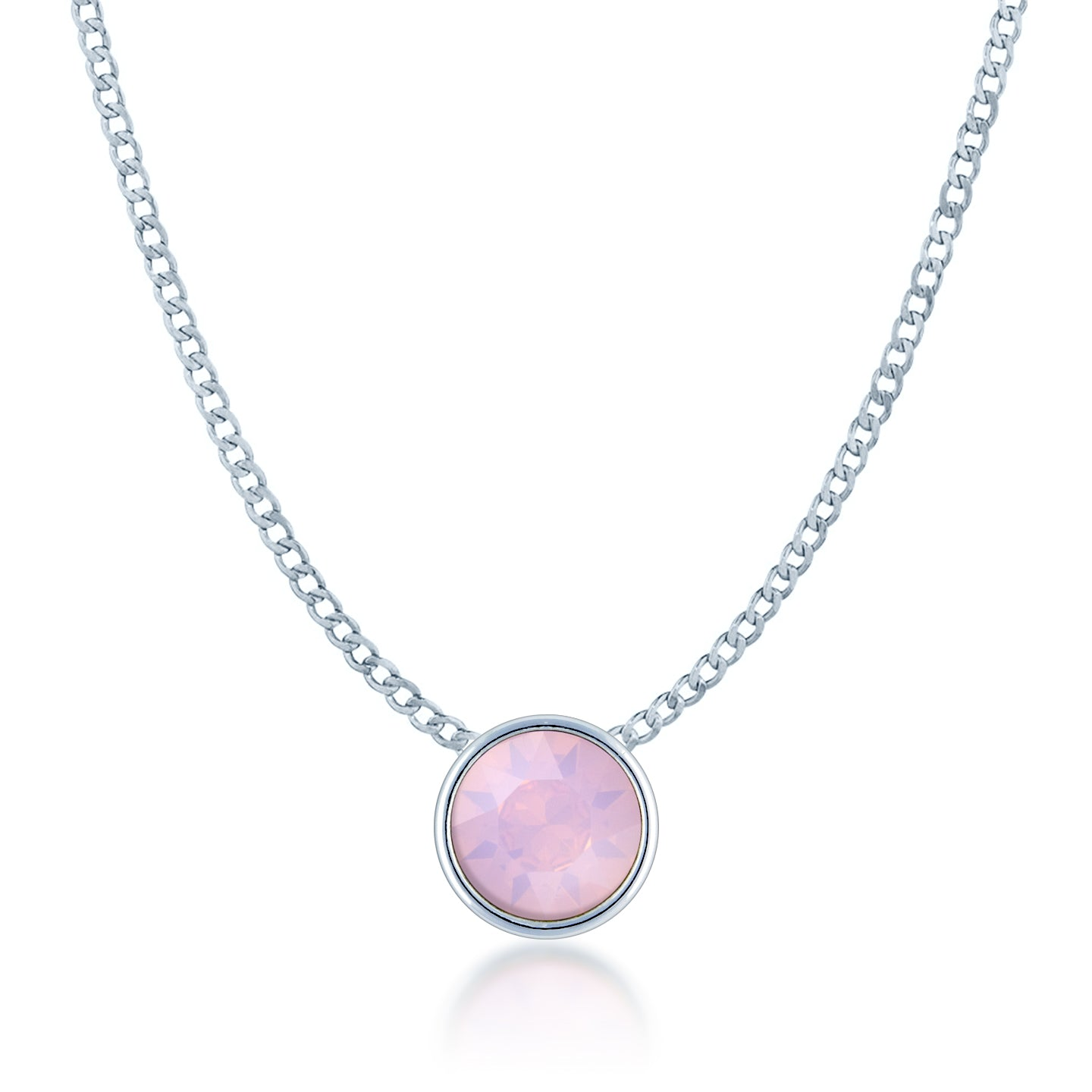 Harley Small Pendant Necklace with Pink Rose Water Round Opals from Swarovski Silver Toned Rhodium Plated - Ed Heart