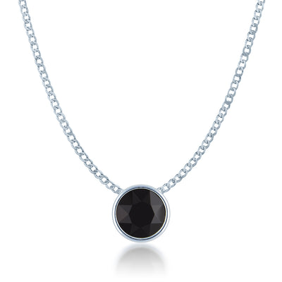 Harley Small Pendant Necklace with Black Jet Round Crystals from Swarovski Silver Toned Rhodium Plated - Ed Heart