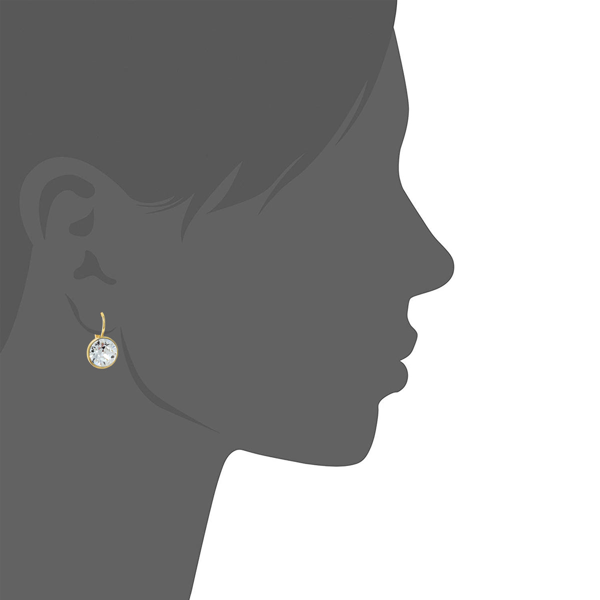 Drop Earrings with Clear Crystals Gold Plated