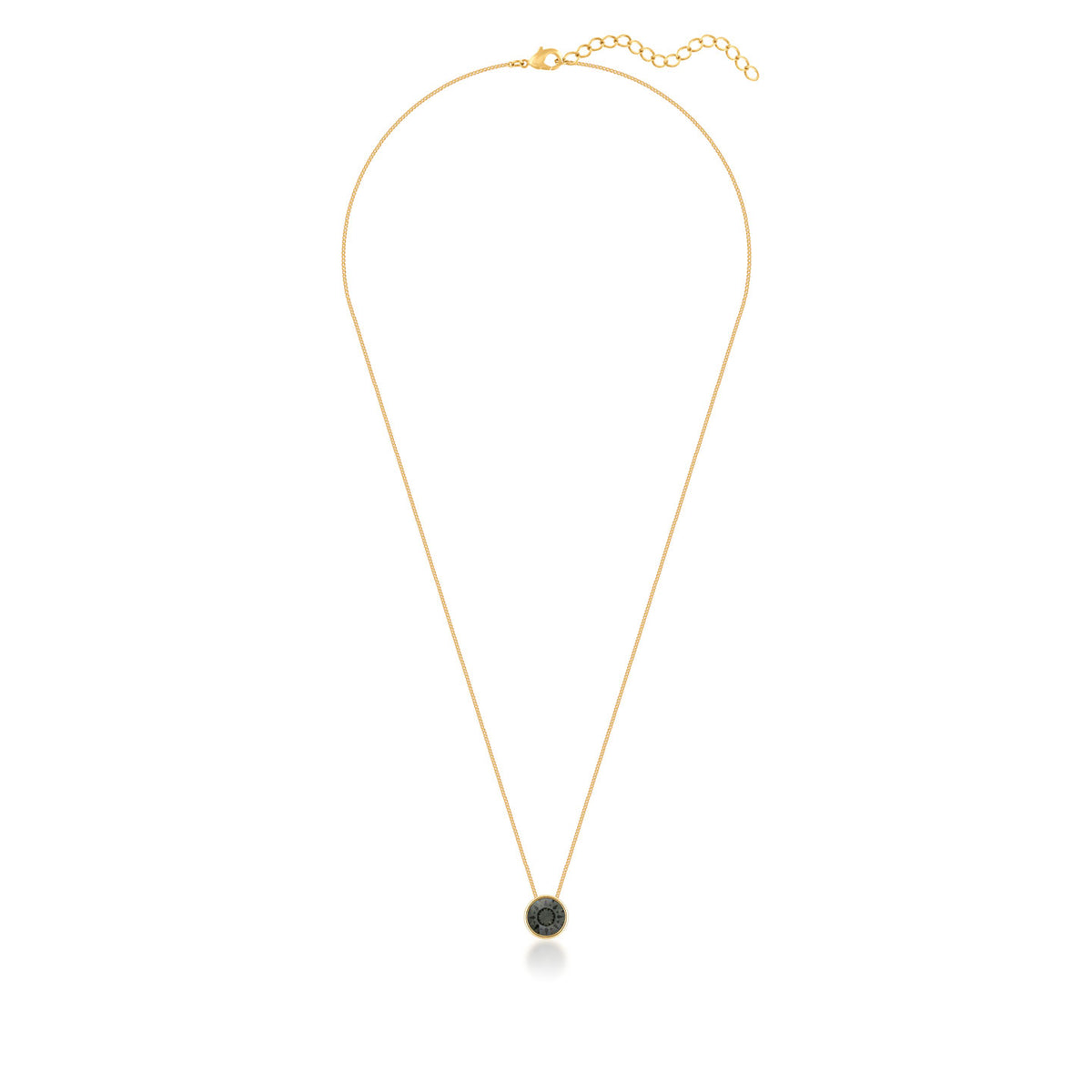 Harley Small Pendant Necklace with Black Diamond Round Crystals from Swarovski Gold Plated - Ed Heart