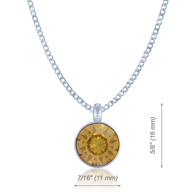 Bella Pendant Necklace with Yellow Brown Light Topaz Round Crystals from Swarovski Silver Toned Rhodium Plated - Ed Heart