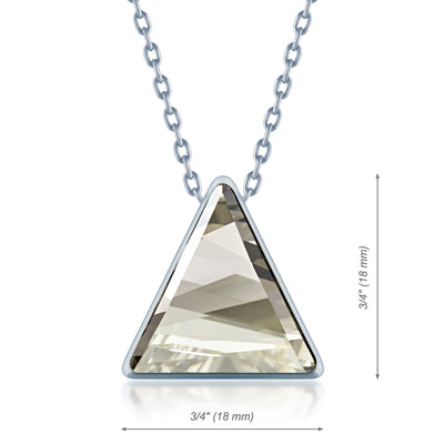 Helena Pendant Necklace with Grey Silver Shade Triangle Crystals from Swarovski Silver Toned Rhodium Plated - Ed Heart