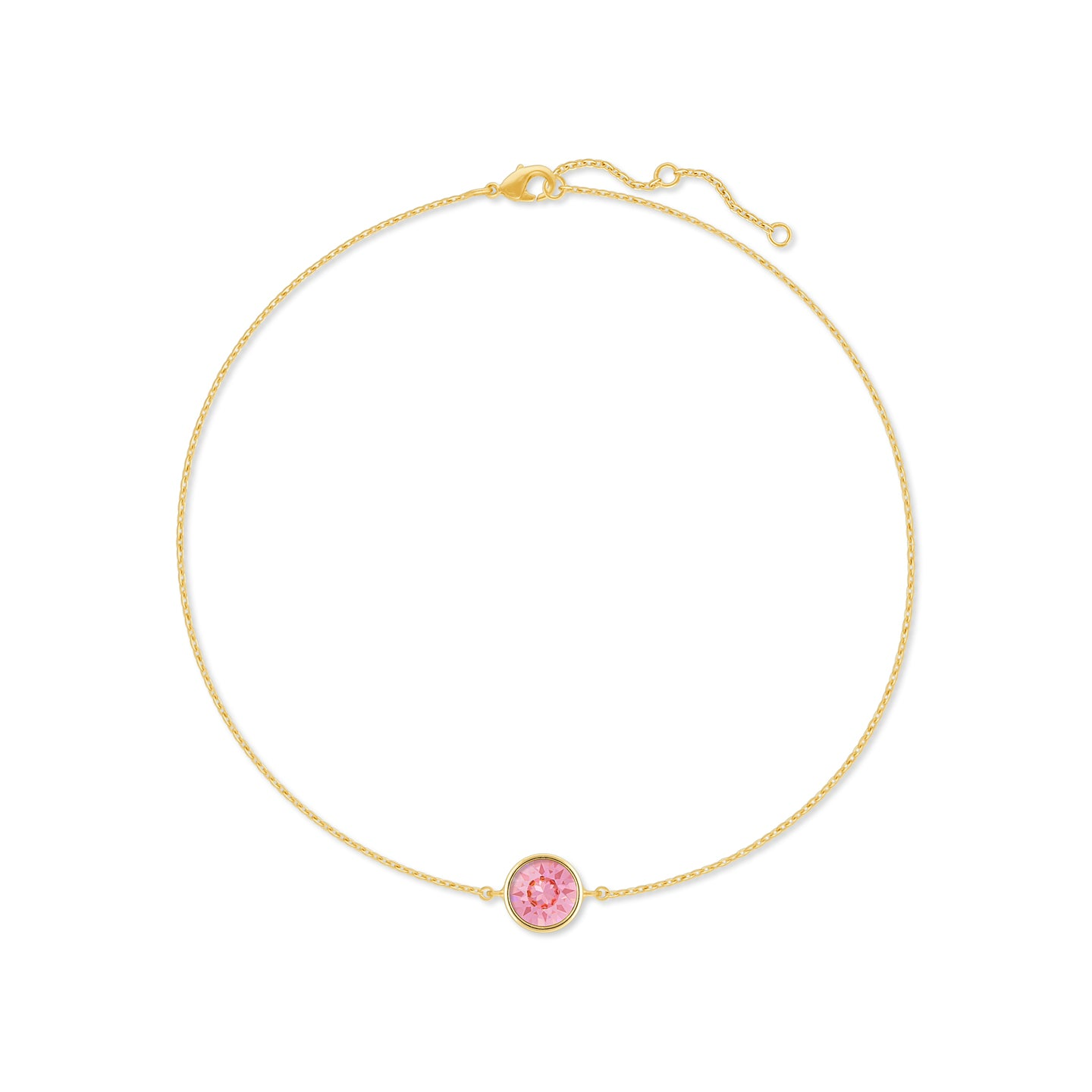 Harley Chain Bracelet with Pink Light Rose Round Crystals from Swarovski Gold Plated - Ed Heart
