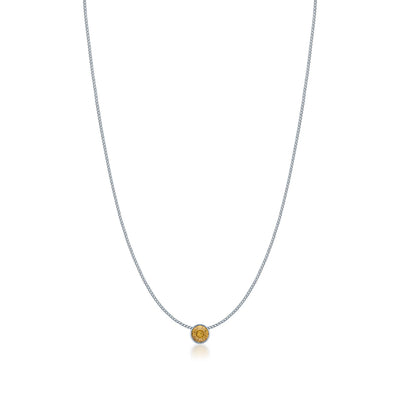 Harley Small Pendant Necklace with Yellow Brown Light Topaz Round Crystals from Swarovski Silver Toned Rhodium Plated - Ed Heart