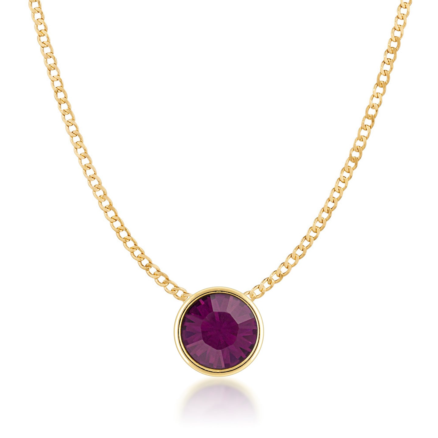 Harley Small Pendant Necklace with Purple Amethyst Round Crystals from Swarovski Gold Plated - Ed Heart