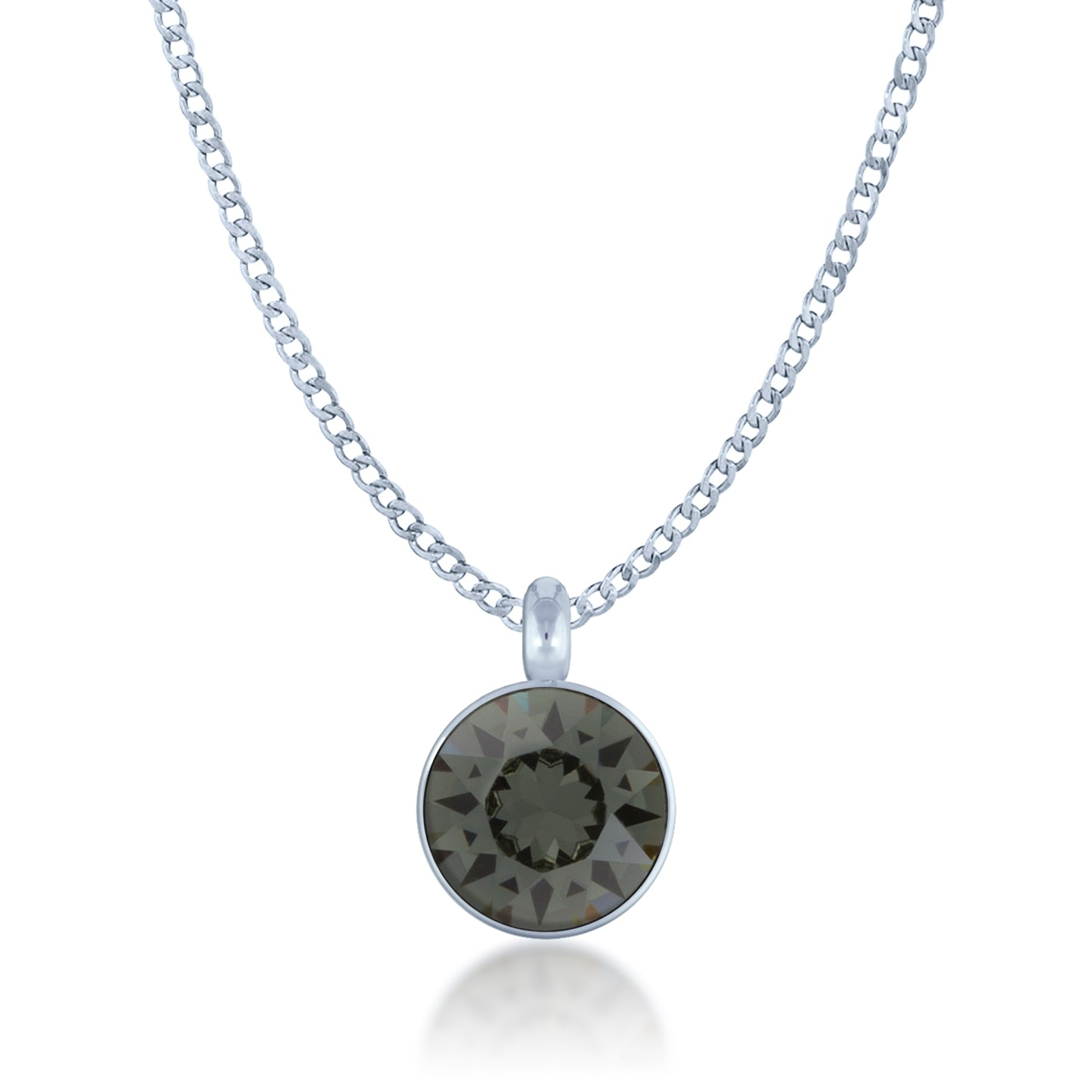 Bella Pendant Necklace with Black Diamond Round Crystals from Swarovski Silver Toned Rhodium Plated - Ed Heart