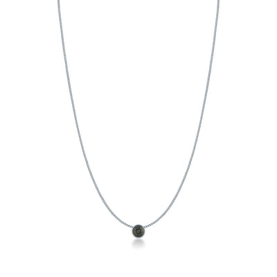 Harley Small Pendant Necklace with Black Diamond Round Crystals from Swarovski Silver Toned Rhodium Plated - Ed Heart