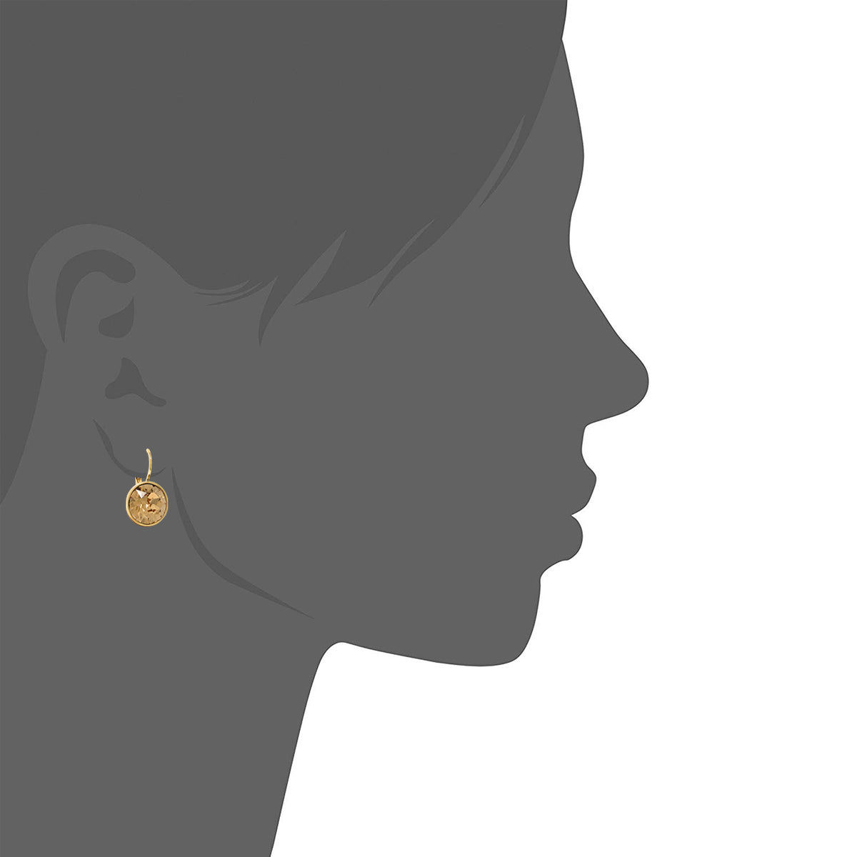 Drop Earrings with Brown Light Topaz Crystals Gold Plated