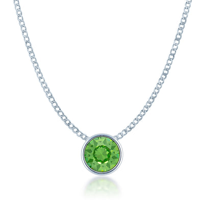 Harley Small Pendant Necklace with Green Peridot Round Crystals from Swarovski Silver Toned Rhodium Plated - Ed Heart