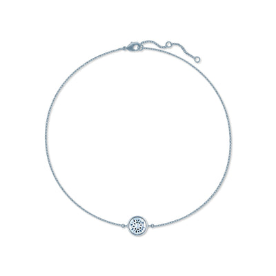 Harley Chain Bracelet with White Clear Round Crystals from Swarovski Silver Toned Rhodium Plated - Ed Heart