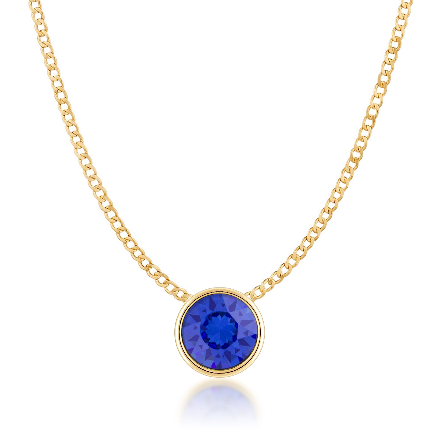 Harley Small Pendant Necklace with Blue Sapphire Round Crystals from Swarovski Gold Plated - Ed Heart