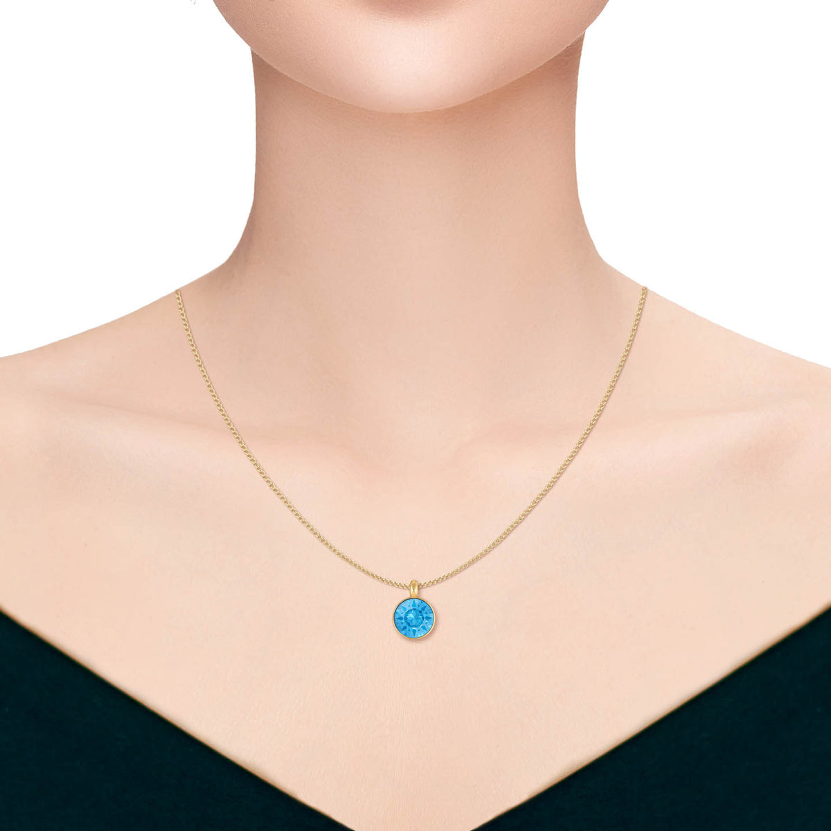 Bella Pendant Necklace with Blue Aquamarine Round Crystals from Swarovski Gold Plated - Ed Heart