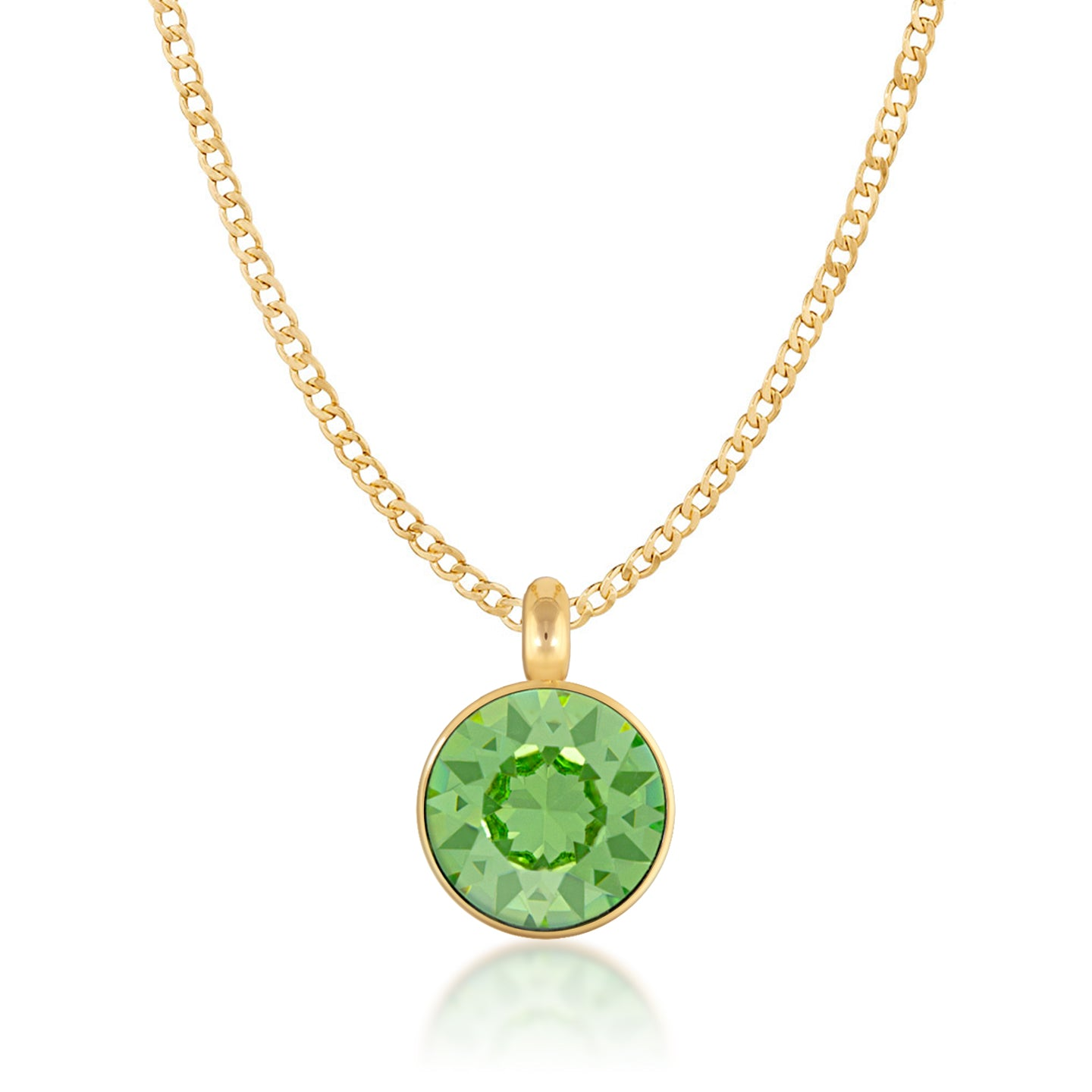 Bella Pendant Necklace with Green Peridot Round Crystals from Swarovski Gold Plated - Ed Heart
