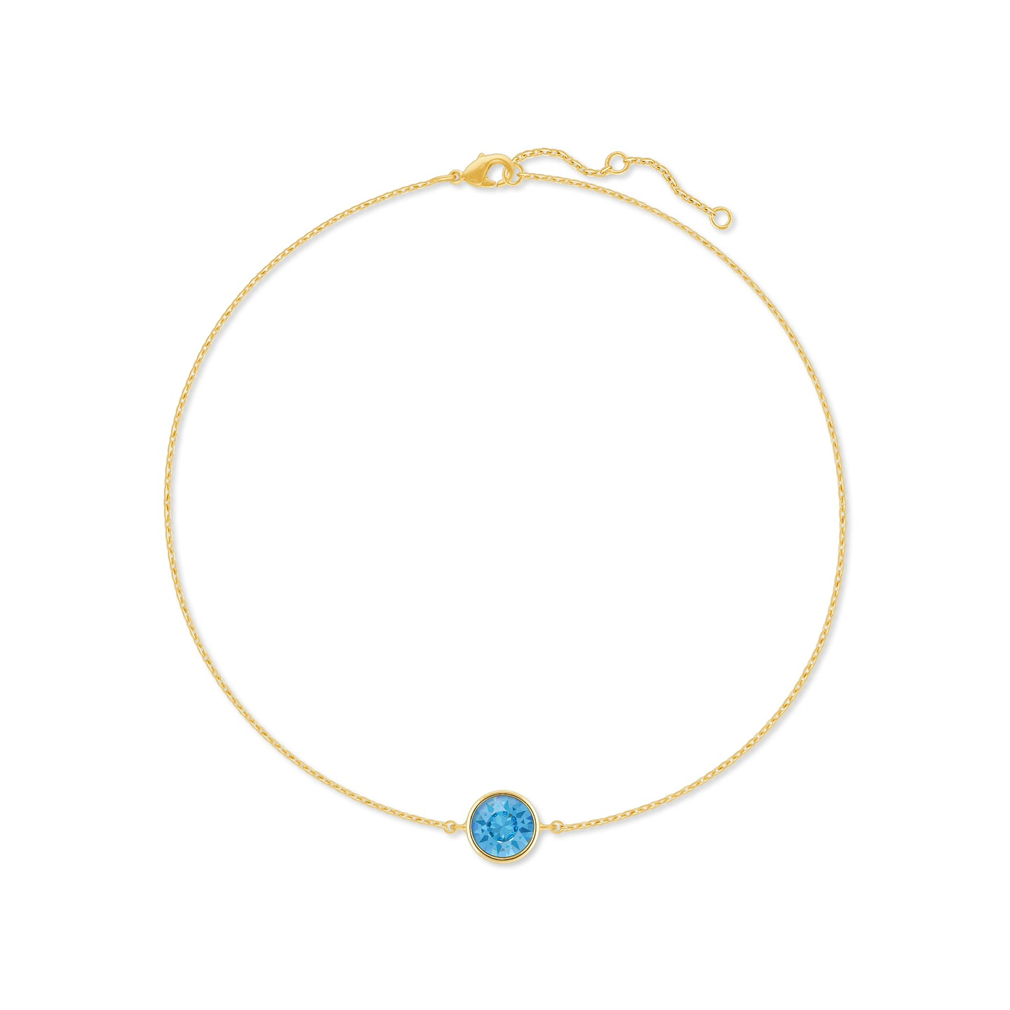 Harley Chain Bracelet with Blue Aquamarine Round Crystals from Swarovski Gold Plated - Ed Heart