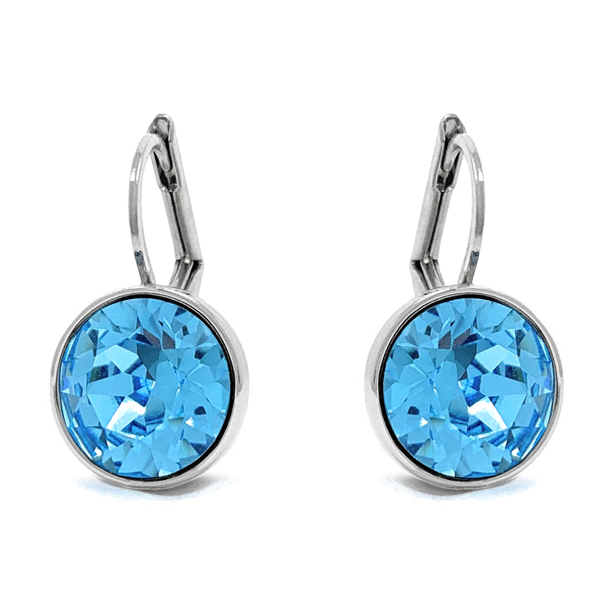 Drop Earrings with Blue Aquamarine Crystals Rhodium Plated