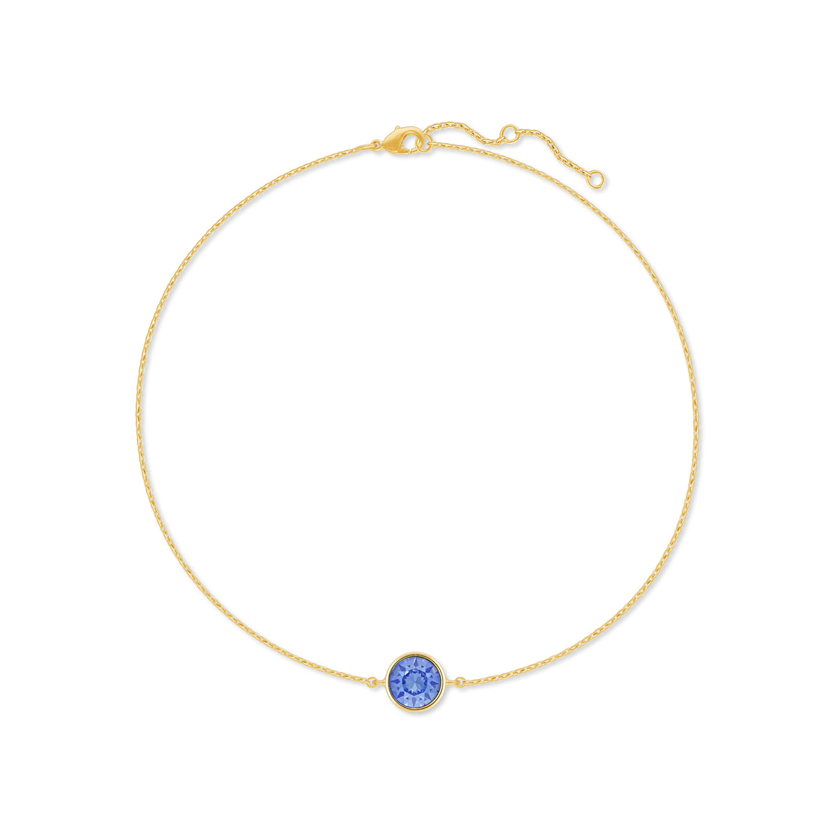 Harley Chain Bracelet with Blue Light Sapphire Round Crystals from Swarovski Gold Plated - Ed Heart