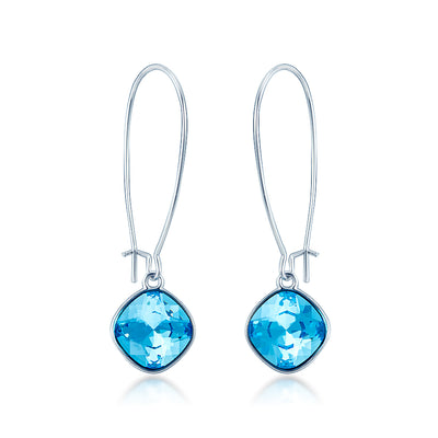 Patricia Earwire Dangle Earrings with Blue Aquamarine Square Crystals from Swarovski Silver Toned Rhodium Plated - Ed Heart