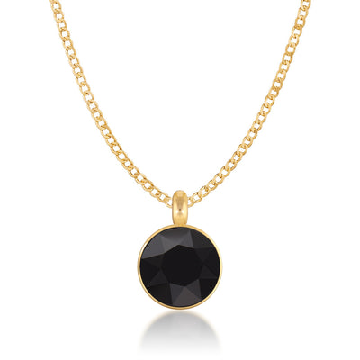 Bella Pendant Necklace with Black Jet Round Crystals from Swarovski Gold Plated - Ed Heart