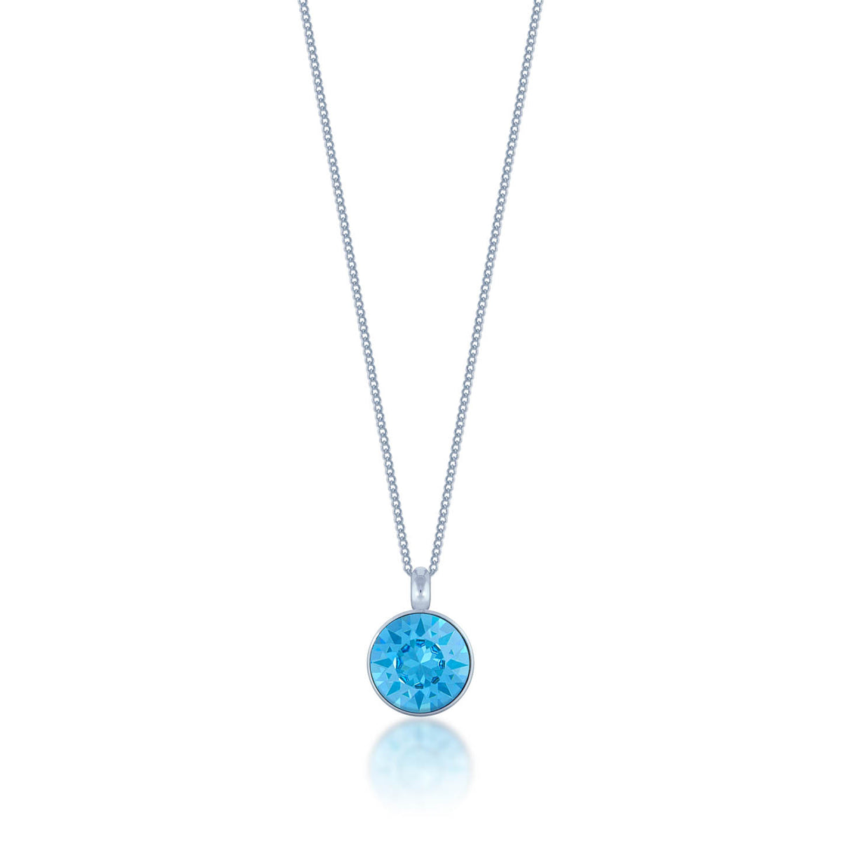 Bella Pendant Necklace with Blue Aquamarine Round Crystals from Swarovski Silver Toned Rhodium Plated - Ed Heart