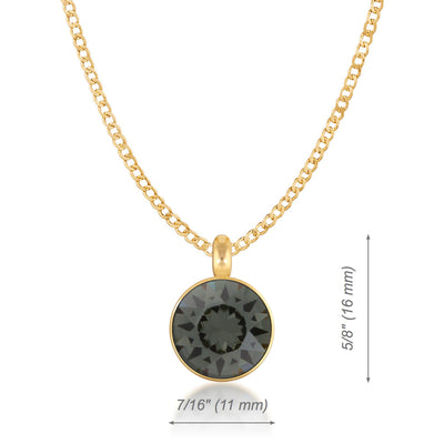 Bella Pendant Necklace with Black Diamond Round Crystals from Swarovski Gold Plated - Ed Heart