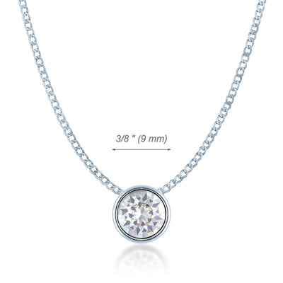 Harley Small Pendant Necklace with White Clear Round Crystals from Swarovski Silver Toned Rhodium Plated - Ed Heart