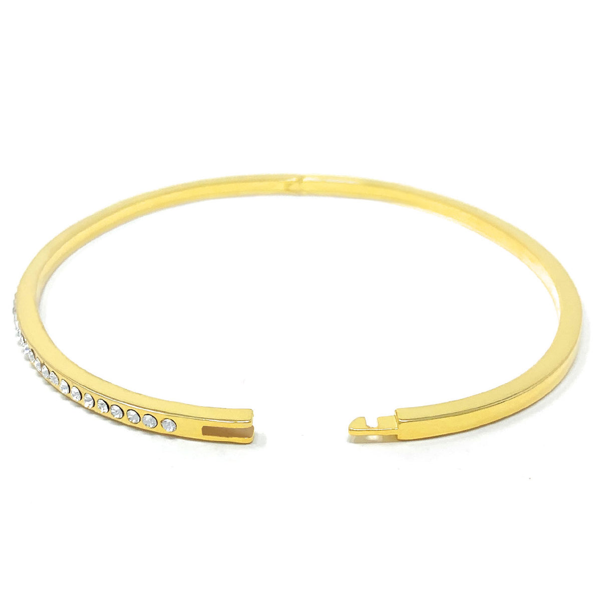 Amelia Pave Bangle Bracelet with White Clear Round Crystals from Swarovski Gold Plated - Ed Heart