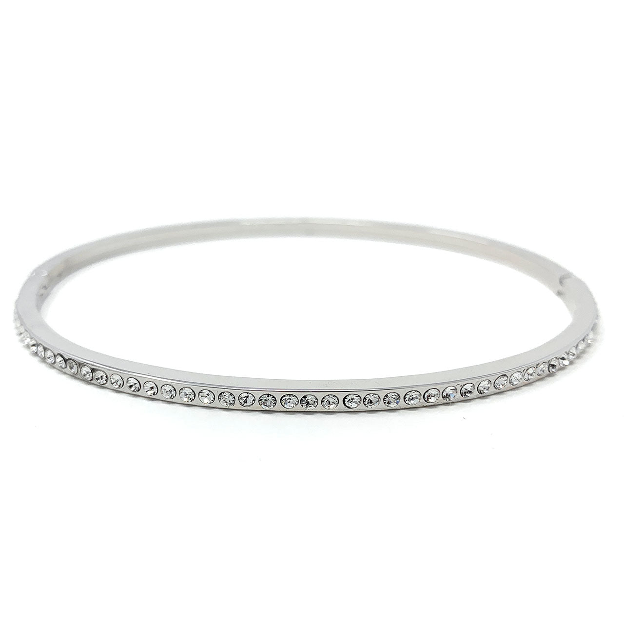 Amelia Pave Bangle Bracelet with White Clear Round Crystals from Swarovski Silver Toned Rhodium Plated - Ed Heart
