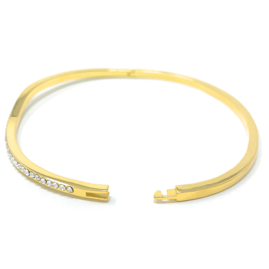 Amelia Curve Pave Bangle Bracelet with White Clear Round Crystals from Swarovski Gold Plated