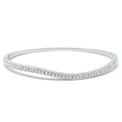 Amelia Curve Pave Bangle Bracelet with White Clear Round Crystals from Swarovski Silver Toned Rhodium Plated