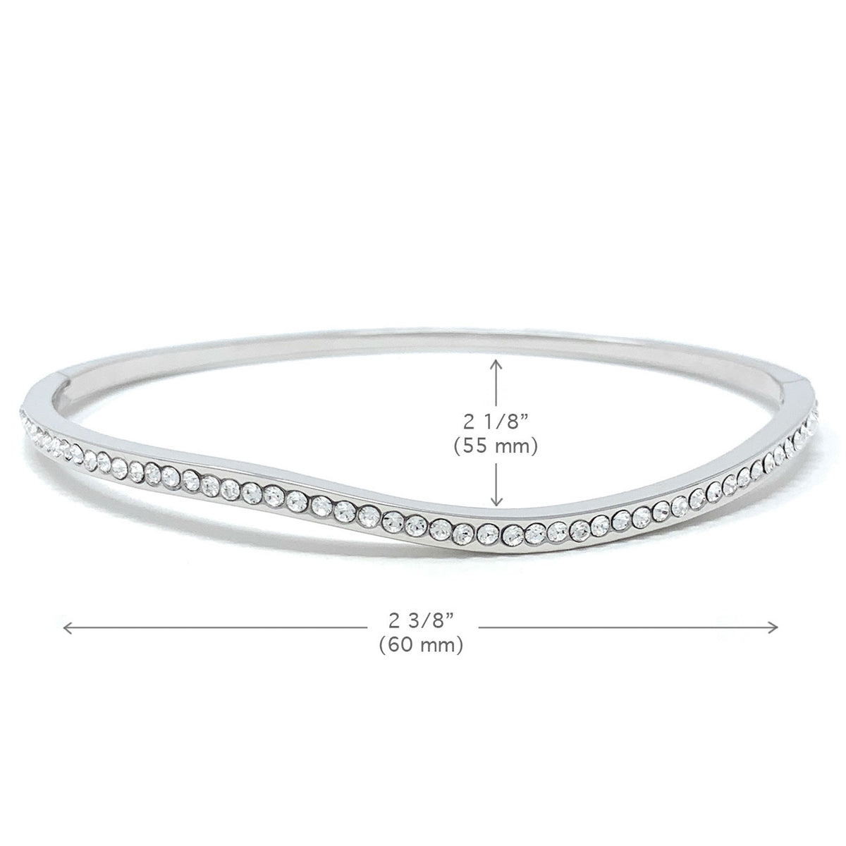 Amelia Curve Pave Bangle Bracelet with White Clear Round Crystals from Swarovski Silver Toned Rhodium Plated - Ed Heart