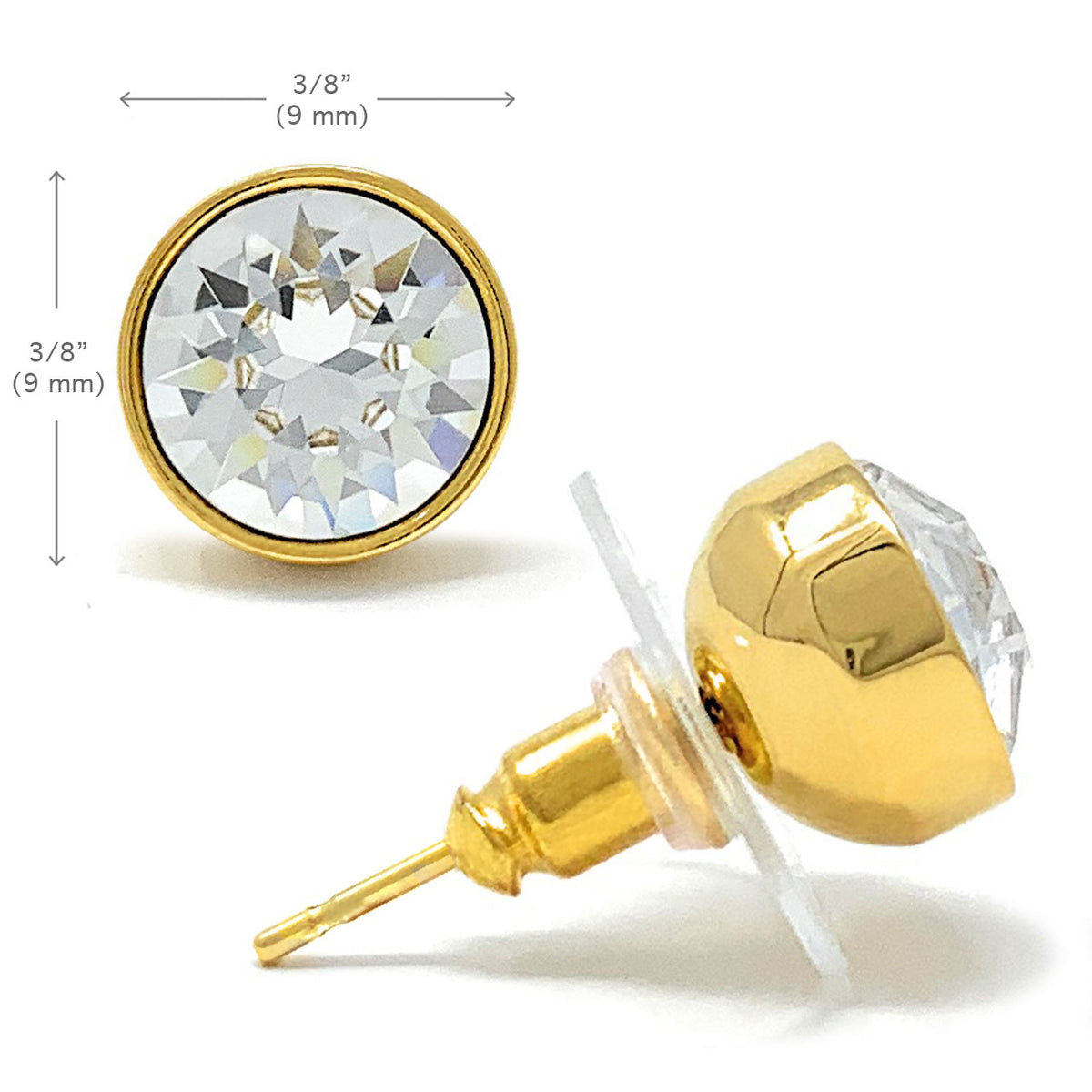Harley Stud Earrings with White Clear Round Crystals from Swarovski Gold Plated - Ed Heart