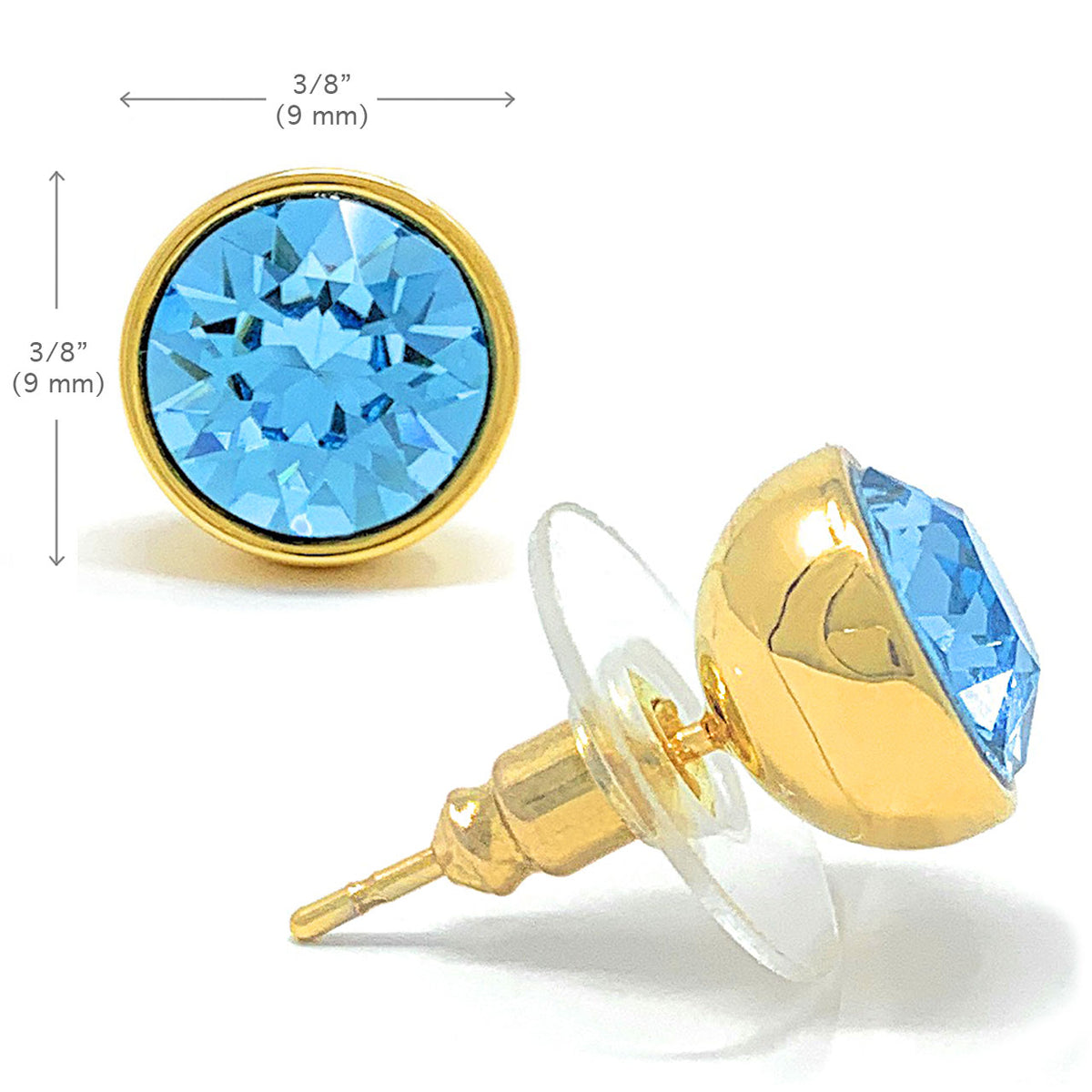Harley Stud Earrings with Blue Aquamarine Round Crystals from Swarovski Gold Plated - Ed Heart