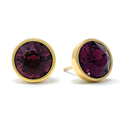 Harley Stud Earrings with Purple Amethyst Round Crystals from Swarovski Gold Plated - Ed Heart