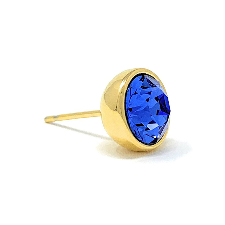 Harley Stud Earrings with Blue Sapphire Round Crystals from Swarovski Gold Plated