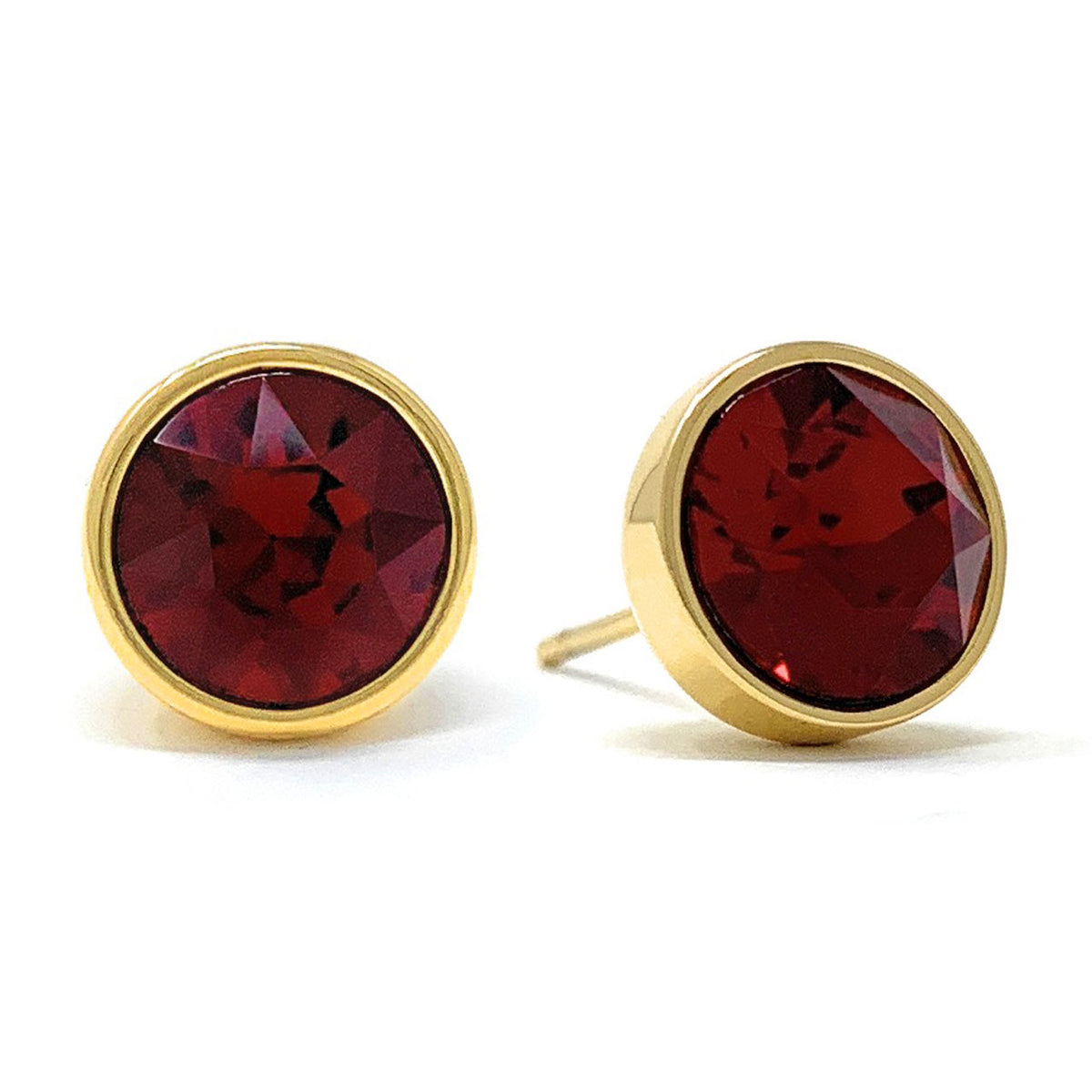 Harley Stud Earrings with Red Siam Round Crystals from Swarovski Gold Plated - Ed Heart