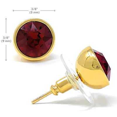 Harley Stud Earrings with Red Siam Round Crystals from Swarovski Gold Plated