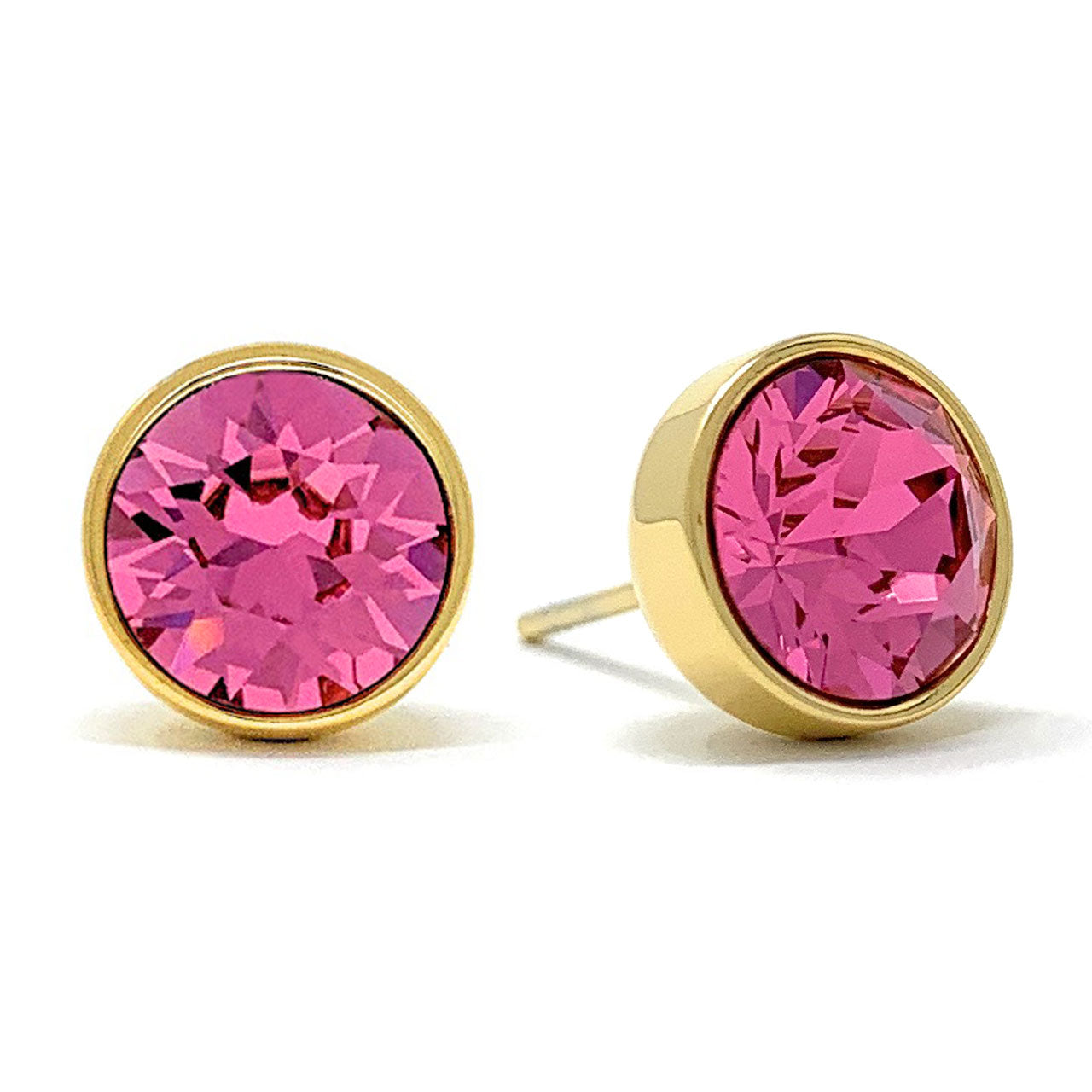Harley Stud Earrings with Pink Rose Round Crystals from Swarovski Gold Plated - Ed Heart
