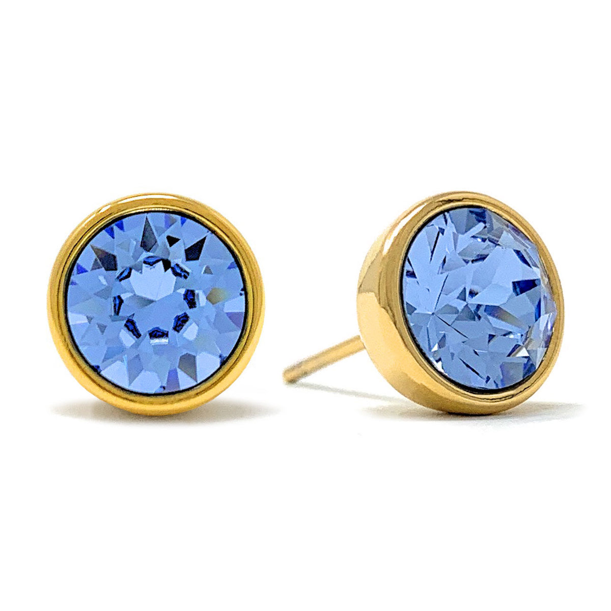Harley Stud Earrings with Blue Light Sapphire Round Crystals from Swarovski Gold Plated - Ed Heart