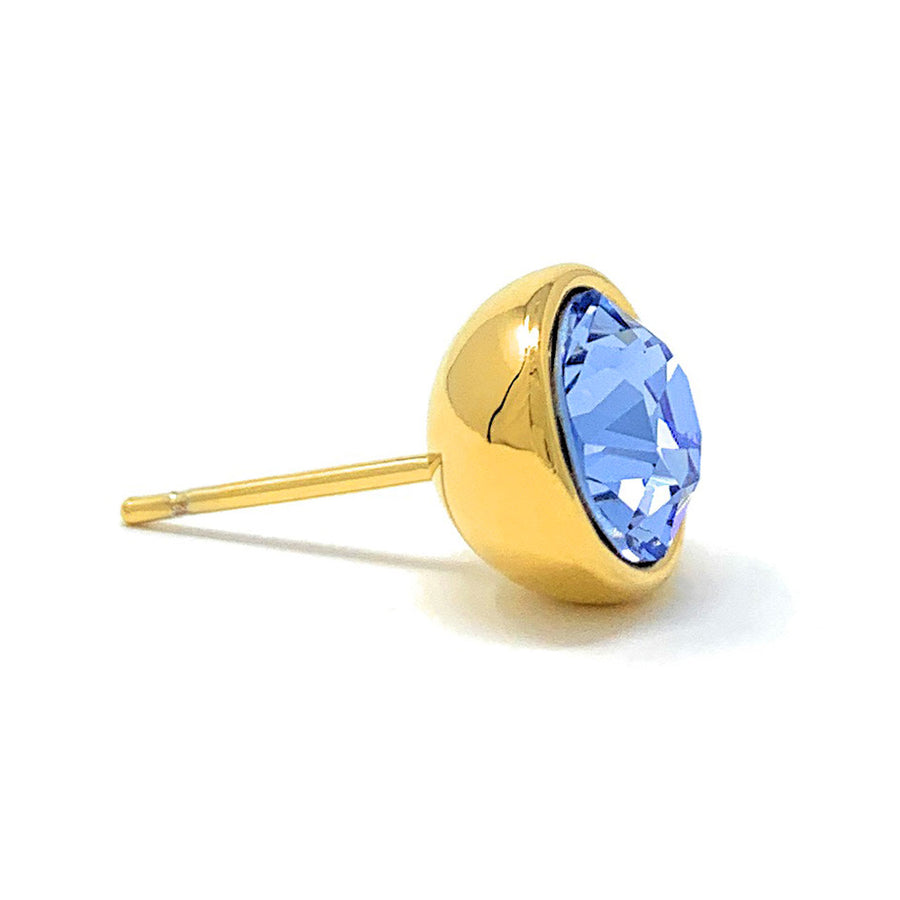 Harley Stud Earrings with Blue Light Sapphire Round Crystals from Swarovski Gold Plated
