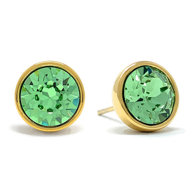 Harley Stud Earrings with Green Peridot Round Crystals from Swarovski Gold Plated - Ed Heart